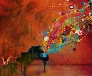 colorful, orange, and music image