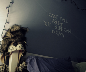 Dream, text, and bed image