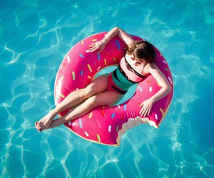 summer, girl, and donuts image