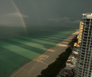 rainbow, beach, and ocean image