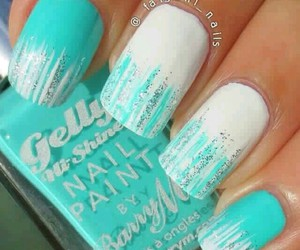 aqua blue, nails, and trend image