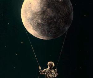 moon, boy, and night image