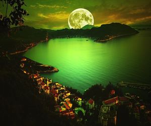 moon, green, and night image