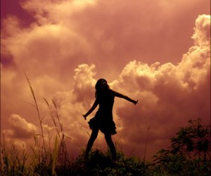 girl, clouds, and pink image