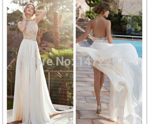 backless, dress, and lace image
