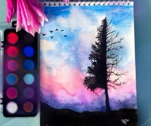 art, drawing, and tree image