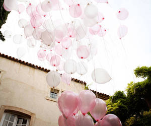 pink, balloons, and white image