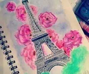 paris, drawing, and flowers image