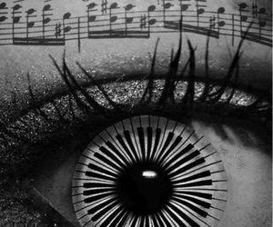 music, eye, and piano image