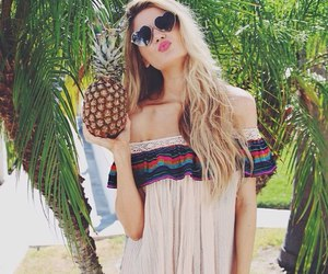 summer, girl, and pineapple image