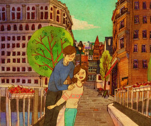 animation, couple, and drawing image
