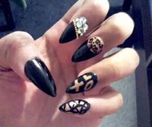black, nails, and designs image