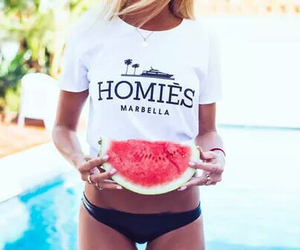 summer, watermelon, and girl image