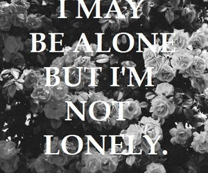 alone, black and white, and flowers image