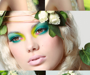 blonde, cheveux, and Fleurs image