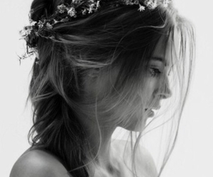 hair, hair style, and black&white image