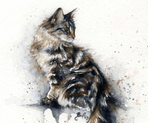 art, cat, and watercolor image