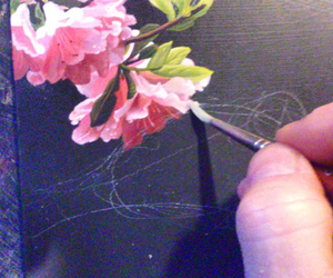 acrylic, art, and flower image