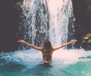 girl, summer, and waterfall image