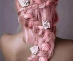 pretty, braid, and flowers image