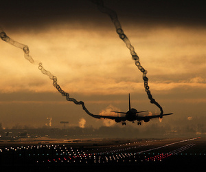 airplane, dawn, and plane image