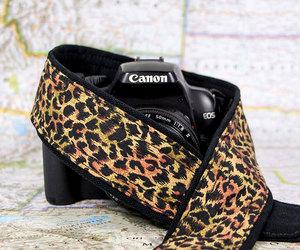 camera, leopard, and camera strap image