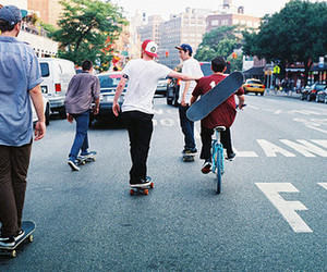 boy, skate, and street image