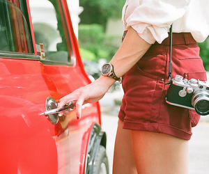 camera, girl, and car image