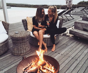 girl, friends, and fire image