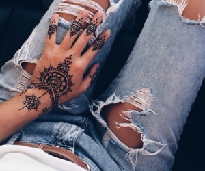 tattoo, henna, and jeans image