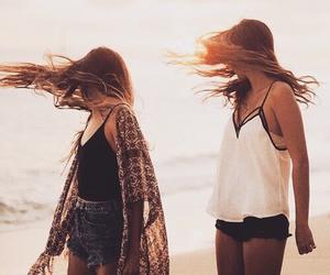 hair, friends, and beach image