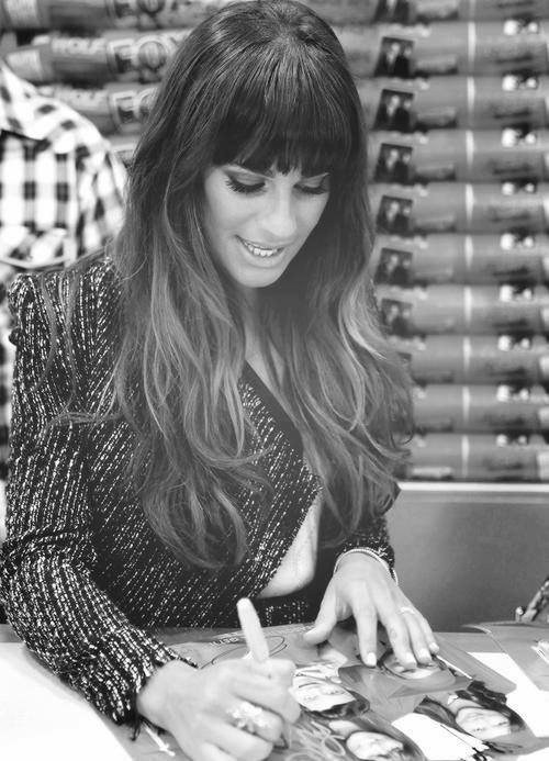 black and white, lea, and glee image