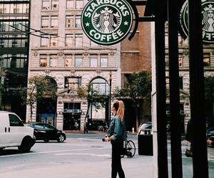 starbucks, girl, and coffee image