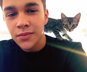 austin mahone, boy, and cat image
