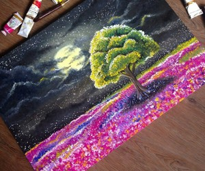 drawings, night, and trees image