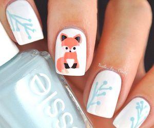 nails, fox, and nail art image