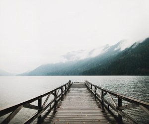 mountains, adventure, and bridge image