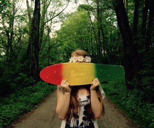 forest, girl, and pennyboard image