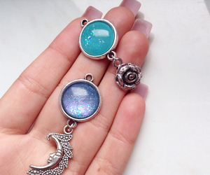 blue, charms, and crescent moon image