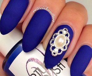nails, blue, and flower image