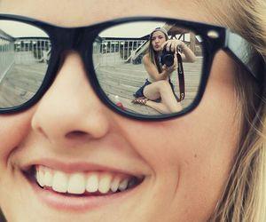 girl, smile, and sunglasses image