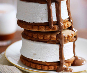 biscuits, chocolate sauce, and marshmallows image