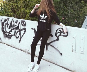 adidas, girl, and black image