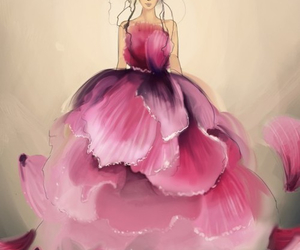 art, dress, and pink image