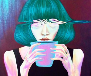 art, coffee, and green image