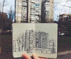 art, draw, and building image
