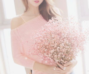 brown hair, lovely, and flowers image