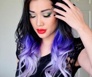 black hair, purple hair, and hair image