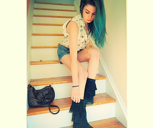 blue hair, boots, and fringes image
