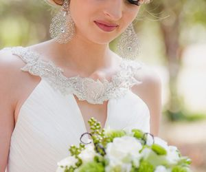 beautiful, woman, and bouquet image